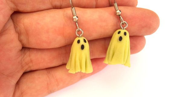 Glow in the Dark Ghost Earrings Halloween Earrings by MACRANI