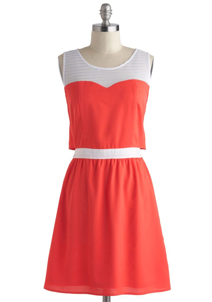 Post-Game Party Dress - Sheer, Mid-length, Coral, White, Solid, Cutout, Casual, A-line, Sleeveless, Summer