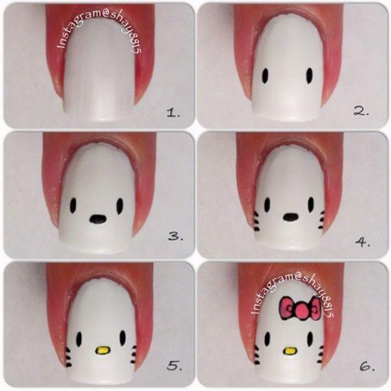 Uñas decoradas de hello kitty | Decoración de Uñas - Manicura y NailArt