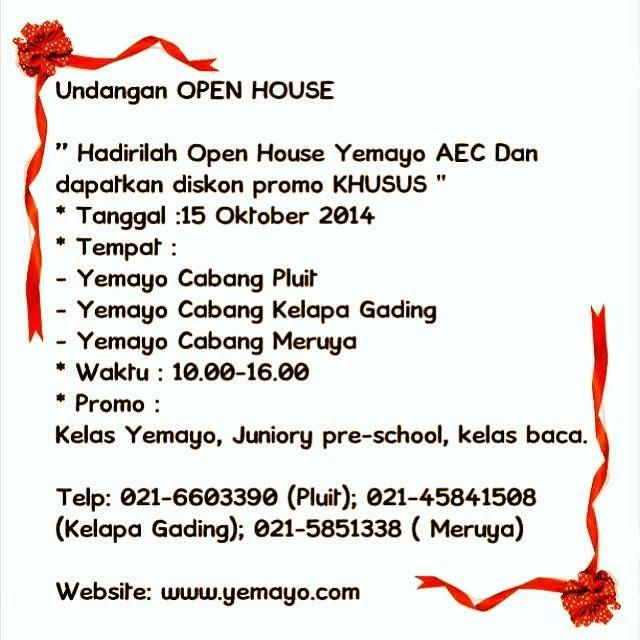 Hadirilah Open House Yemayo AEC dan dapatkan diskon promo KHUSUS...