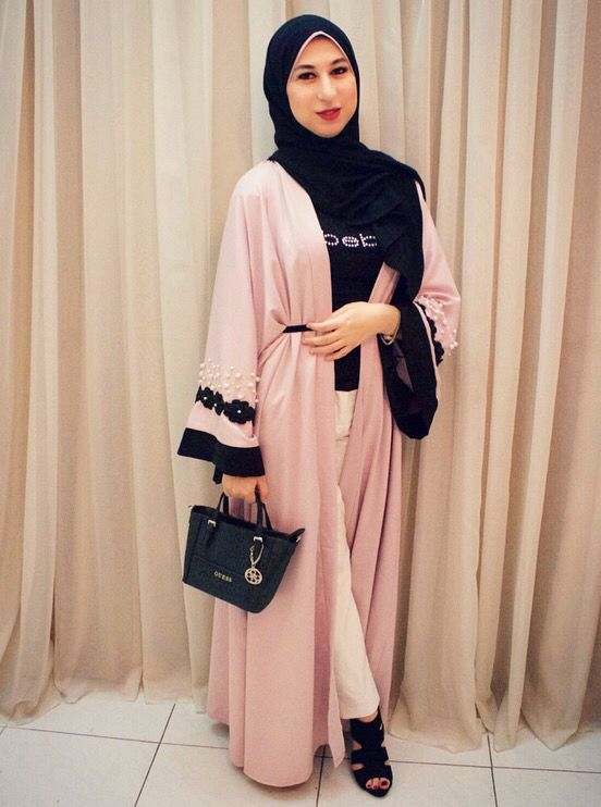Rose&black arabian abaya with white pearl for hijab style