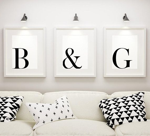 Couples Initials Printable Art Set Of 3 Custom Letters Ampersand Couple Print Inspirational Wall Art Bedroom Decor Digital Download Couples Decor Bedroom Decor Diy Crafts For Bedroom