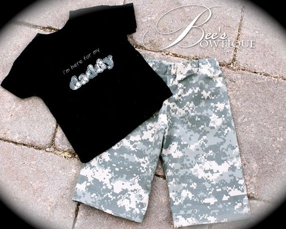 BOYS ACU Welcome home set I'm here for my daddy by BeesBowtique, $32.95... Buying this!!!