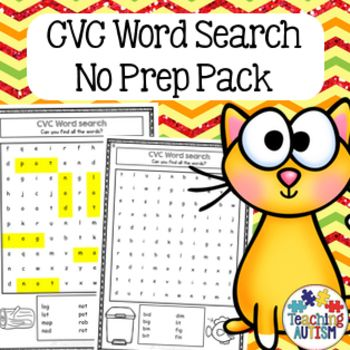 This CVC themed word search pack contains 2 different levels of word search worksheets, blank word search worksheets for students to make their own CVCword searches and also a vocabulary poster that includes all the vocabulary used through all the word searches.