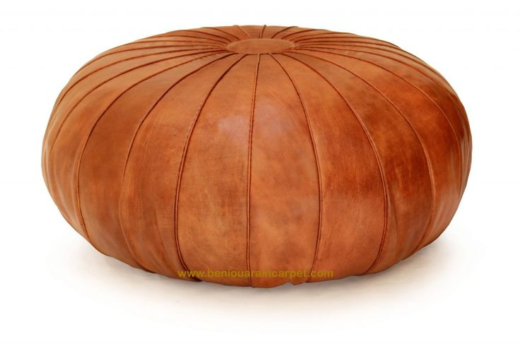 Tan Ottoman Pouf, Exclusive antique revival hand-crafted Moroccan leather Tan brown pouf ottoman. Low-slung and extra large i Round stunning shape