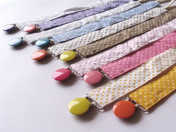 Pacifier clip for baby, binky clip, paci clip, girl, boy, Looped Cord Fabric Pacifier Clips on Etsy, $8.50
