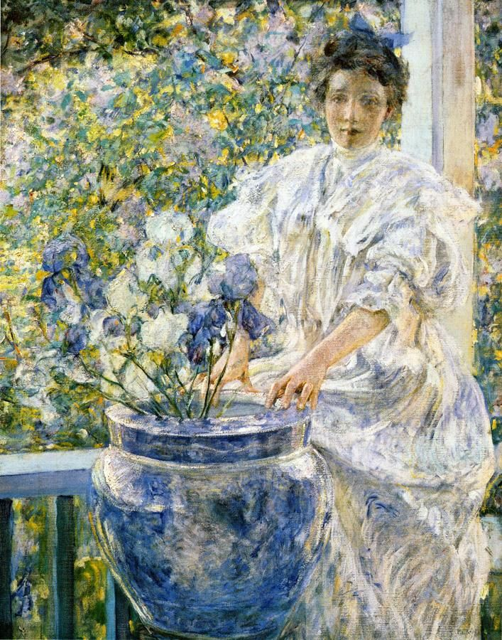 ⊰ Posing with Posies ⊱ paintings of women and flowers - Robert Reid - Woman on a Porch with Flowers