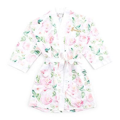 Watercolor Floral Silky Kimono Robe On White