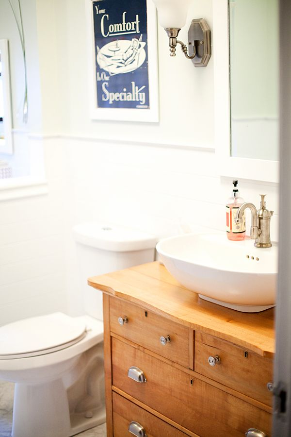 They made an antique dresser into the bathroom vanity - Bathroom vanities made from old dressers ...