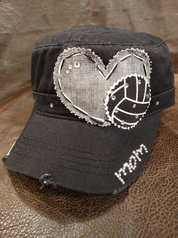 Volleyball Mom Love Bling Distressed Cadet Cap on Etsy, $26.95