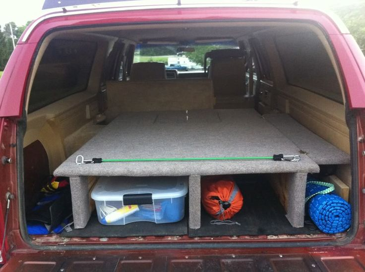 Back of Suburban camping platform. | Truck bed camping ...