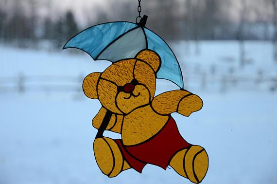 Stained Glass Teddy Bear Sun Catcher