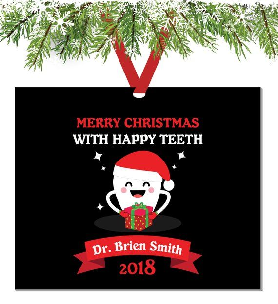 Happy Tooth With Brush Dentist Ornament Dentist Personalized Christmas Ornament Dent Dentist Ornaments Personalized Christmas Ornaments Christmas Ornaments