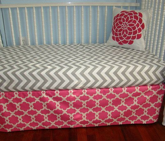 Toddler Bedding 2 Piece. Includes 1 Crib Skirt and 1 Fitted Crib Sheet. $99.00, via Etsy.