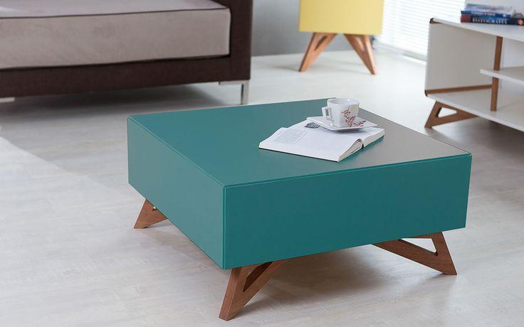 Idea Store - Compre (MESA DE CENTRO QUADRADA COLORIDA AZUL 70X70 DESIGN MODERNO E RETRÔ FREDDIE - 70,6x70,6x33,7 CM)