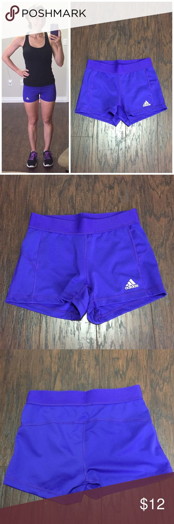 "Adidas hot purple shorts Adidas spandex ""booty"" shorts in a vivid purple color. Elastic waistband. Internal black ""underwear"" panel (I always wear underwear). Size small, waist measures 12.5"" unstretched. Inseam is 3"". These shorts sit slightly higher on the waist than the black Nike Pro Combat shorts listed, for comparison sake. adidas Shorts"