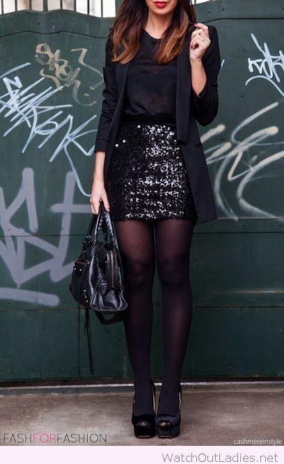 Black glitter skirt, top and blazer