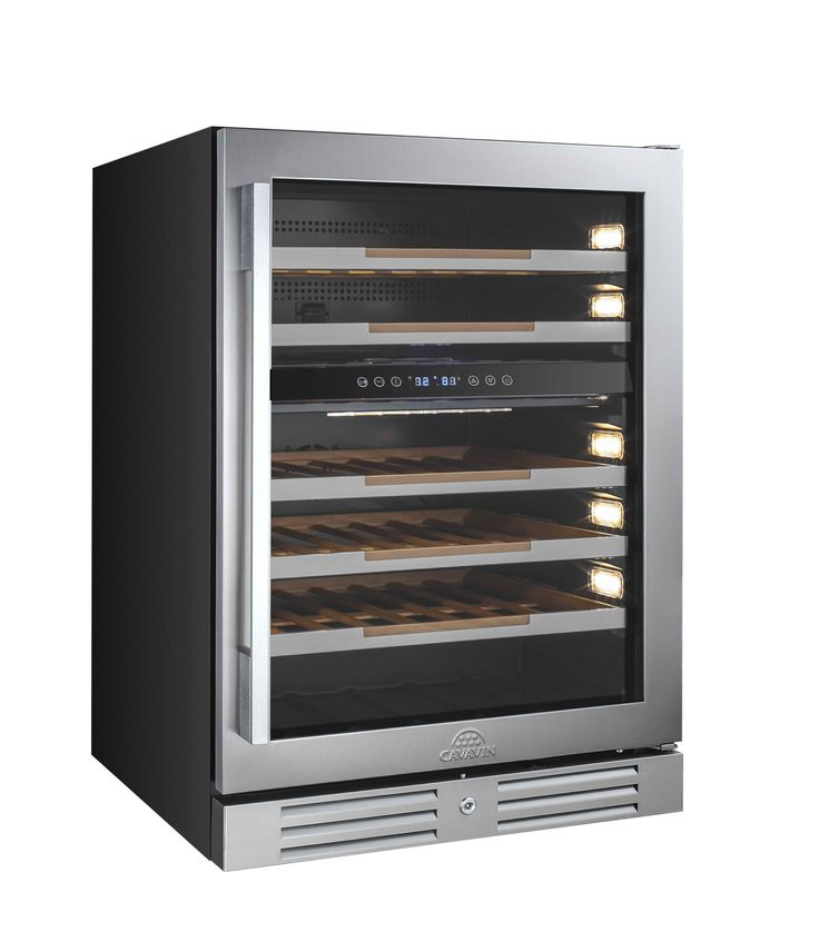 "CAVAVIN  |  46 Bottle Dual Zone Wine Cooler   •	Built-in or freestanding installation  •	Dual zone (red & white wine) •	Top: 5-13°C (40-56°F)  | Bottom: 12-18°C (54-65°F) •	Transition LED lighting (as door opens) with on/off switch •	All wood 100% extension shelves with stainless steel trims •	2 handle choices included (PRO & DESIGN) •	4"" stainless steel kickplate mounted with security lock"