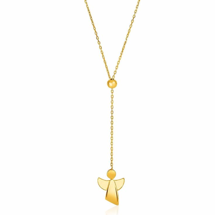 Necklaces This fine gold cable chain necklace features a beautiful stylized angel. Adjustable necklace is 26 inches long and 1mm wide. with free shipping