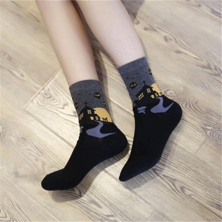 [COSPLACOOL] Halloween socks restoring ancient ways the female witch pumpkin bats ghost castle cylinder female socks