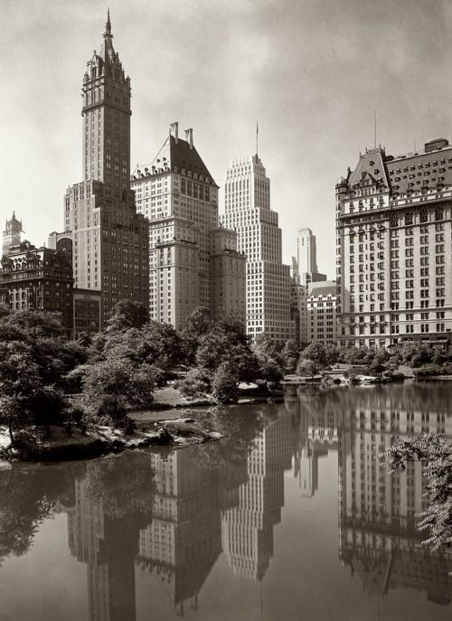 View across New York City's Central Park Lake, 1933