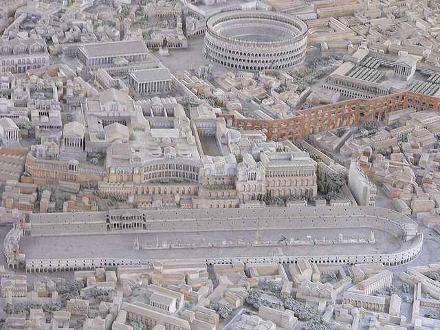 A detailed representation of the location of the Circus Maximus in Ancient Rome.                                                                                                         The Circus Maximus and the colloseum in Rome, Model of Imperial Rome EUR 2005. Personal photograph by author. 2005.