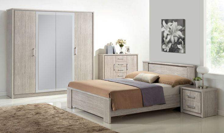 Chambre adulte complète contemporaine chêne gris Kyliane - Chambre adulte complète - CHAMBRE ADULTE - CHAMBRE