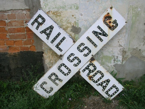 Vintage Rare Original Porcelain Railroad Crossing Sign W