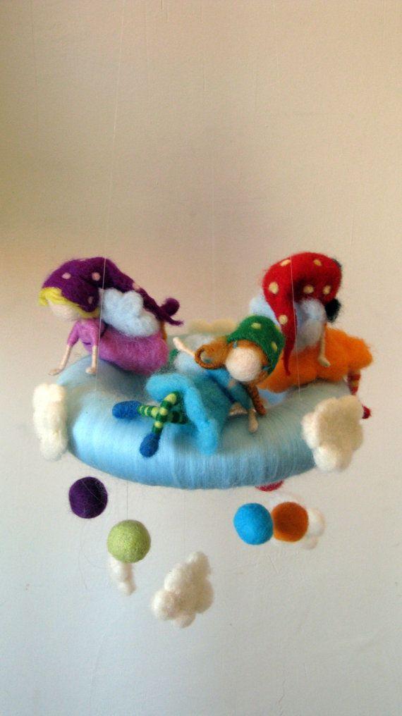 Nursery mobile Kids room decoration Rainbow by Made4uByMagic
