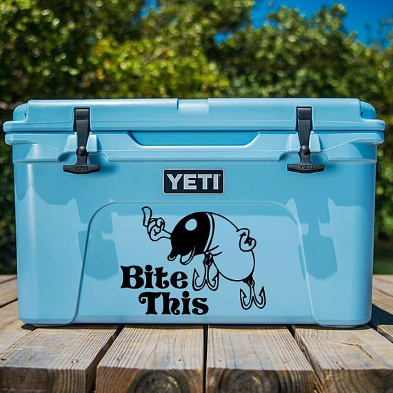 Bite this fishing lure decal funny decal funny stickers bite this decal yeti cooler decal fishing sticker lure decal lure sticker