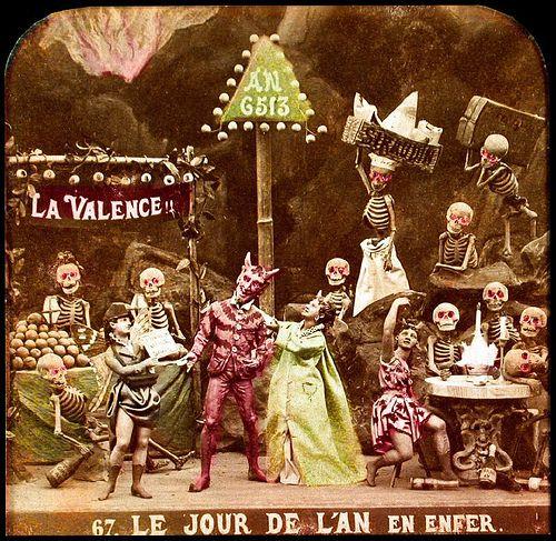"""Anon, """"Le Jour de l'An en Enfer,"""" from Les Diableries, c. 1861, stereocard (detail)"""