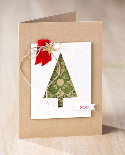 World Card Making Day (2)Noel card; Festival of Trees bundle, Itty Bitty Accents punch pack, Linen Thread, ribbon, Glimmer paper, Nirvana
