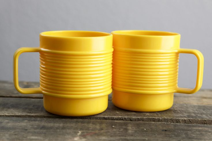 #etsy shop: Rubbermaid Yellow Ribbed Plastic Mugs   Yellow   Set of Two   Camping   Hiking   Backpacking   Travel Mug   Textured   Lightweight http://etsy.me/2FjVUMt #housewares #yellow #plastic #camping #mug #cup #coffee #tea #hotchocolate