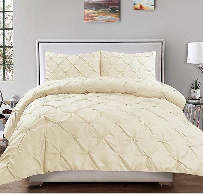 Unkb 3 Piece Ivory Pintuck King Size Duvet Cover Set Beautiful Cream Tufted Puckered Pinched Diamond Pleat Te Comforter Sets Pintuck Duvet Cover Pintuck Duvet