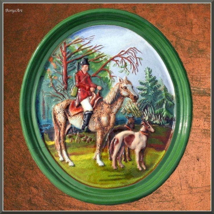 majolikowy kafel centralny do pieca w leśniczówce. Ryszard Krawczyk, Danuta Rożnowska-Borys BorysArt