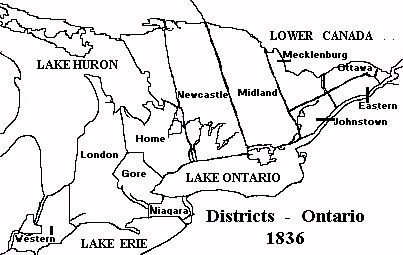 Map of the districts of Upper Canada in 1836