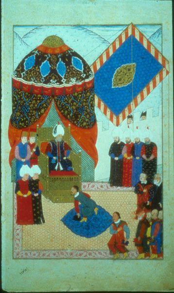 TitleNuzhet al-asrar TopicNuzhet al-asrar SubjectArt, Islamic Miniature painting -- 16th century -- Turkey People Thrones Category...