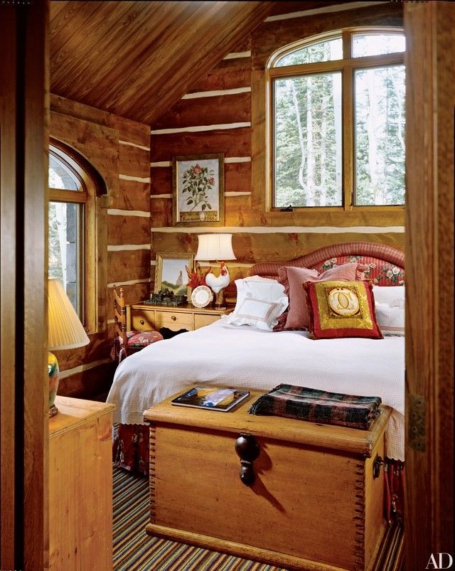 a log cabin bedroom to curl up