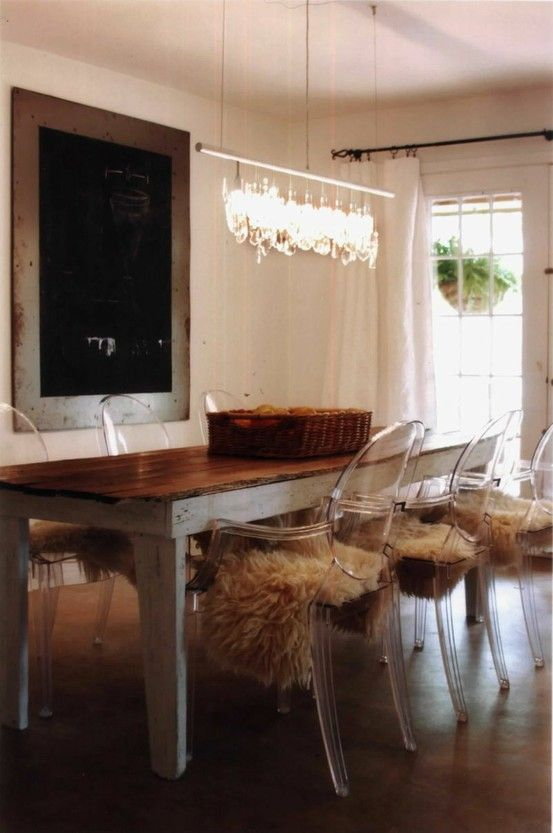 ghost chairs with antique table. Great textures and SOooooo fun the sheepskin comfort