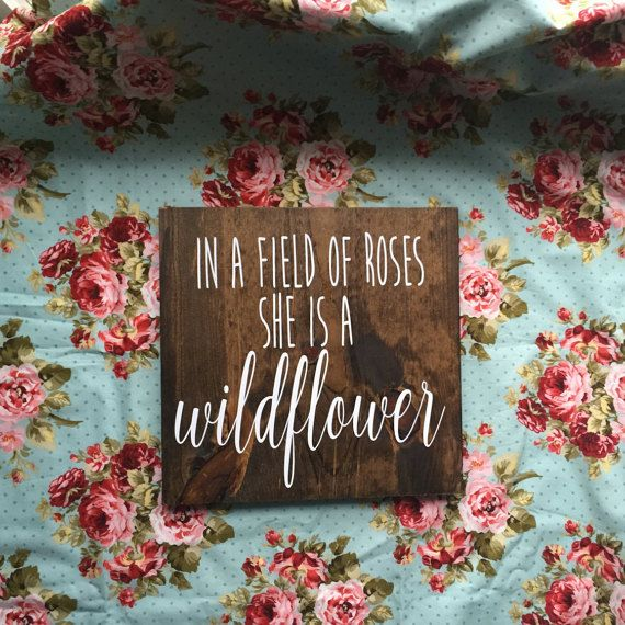 Wildflower Wood Sign. In a field of roses she is by FernHillSigns