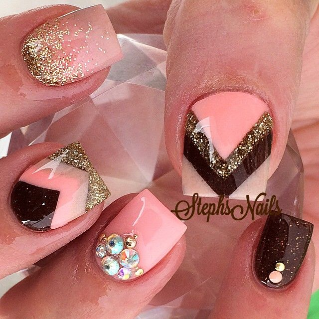 Pink black gold chevron nail art