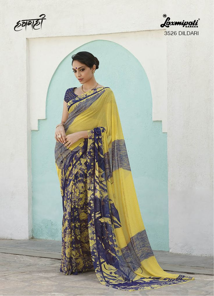 Drape this pallav concept printed georgette saree with having beautiful stencil printed georgette fabric blouse with a smoke effect. Give you a Complete look!