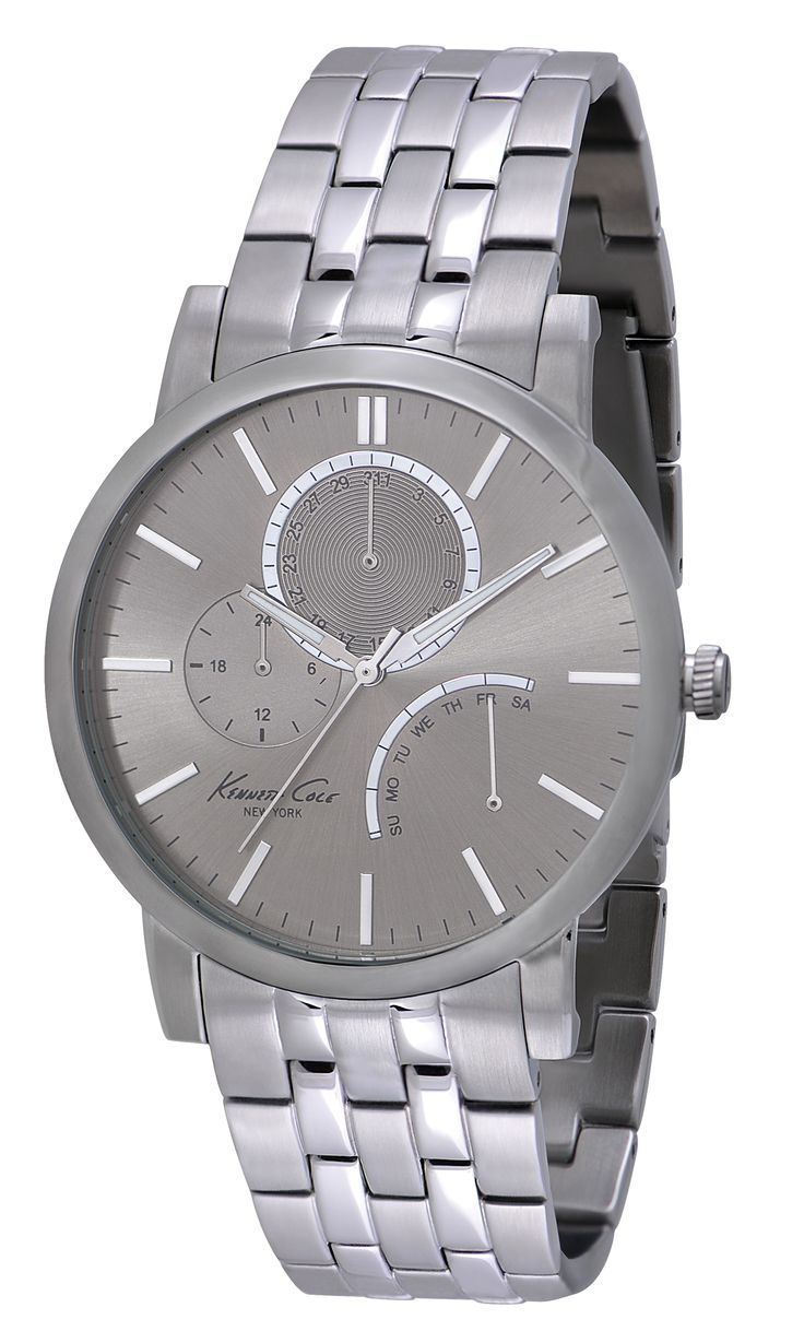 IKC9237 | 2,398 kr UPC: 020571101036 SLIM STAINLESS STEEL ROUND CASE, GREY DIAL WITH SILVER ACCENTS, MINERAL GLASS CRYSTAL, MULTI-FUNCTION MOVEMENT WITH DAY/DATE AND 24 HOUR TIME, STAINLESS STEEL BRACELET WITH TWO BUTTON FOLDER-OVER CLASP. 43.5MM CASE 3 ATM Hitta butiker på www.swgroup.se