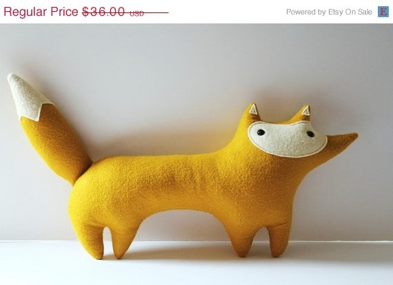 SALE handmade plush mustard fox Stewart Sunshine by sleepyking, $28.80: Handmade Plush, Fabrics Ideas, Sewing Inspirationidea, Kiddo Ideas, Stewart Sunshine, Plush Mustard, Mustard Foxes, Stuffed Animal, Pillows
