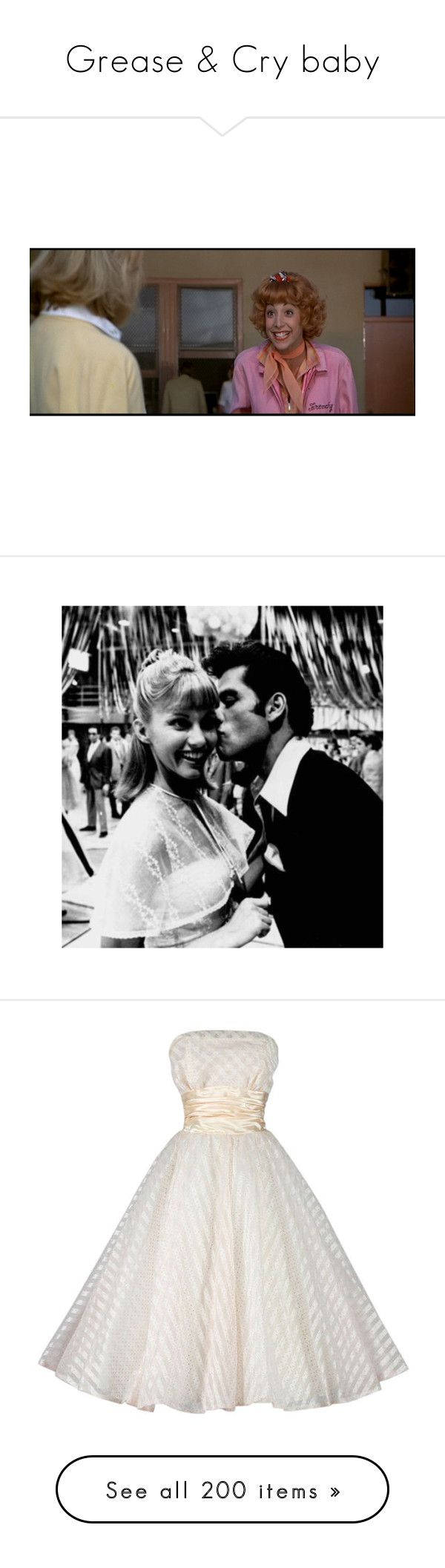 """""""Grease & Cry baby"""" by priscilla12 ❤ liked on Polyvore featuring Creative Co-op, Gianvito Rossi, movie, Grease, Raoul, Monsoon, dress, dannyzuko, grease and backgrounds"""