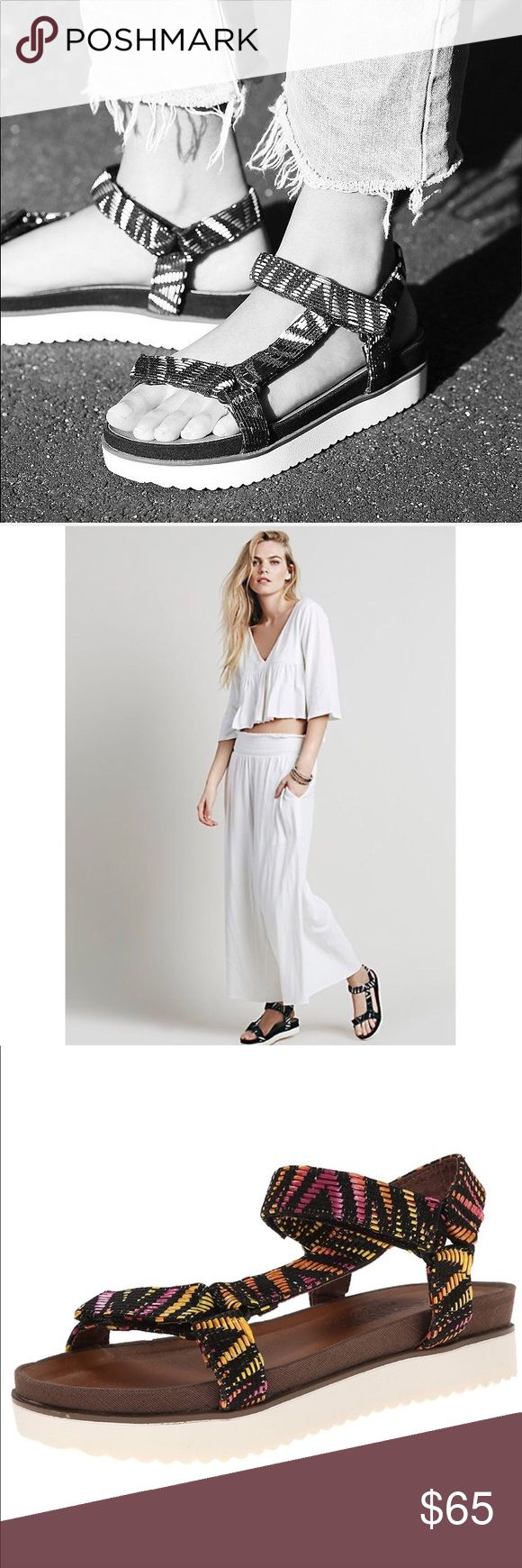"""Strappy Gladiador Sienna Platform Sandal Woven textile upper. Hook and loop closure at ankle. Open toe. Corduroy lining. Cushioned synthetic footbed. Synthetic outsole. Imported. Heel measures approximately 1.5"""" Platform measures approximately 1."""" Matisse X Free People Free People Shoes Sandals"""