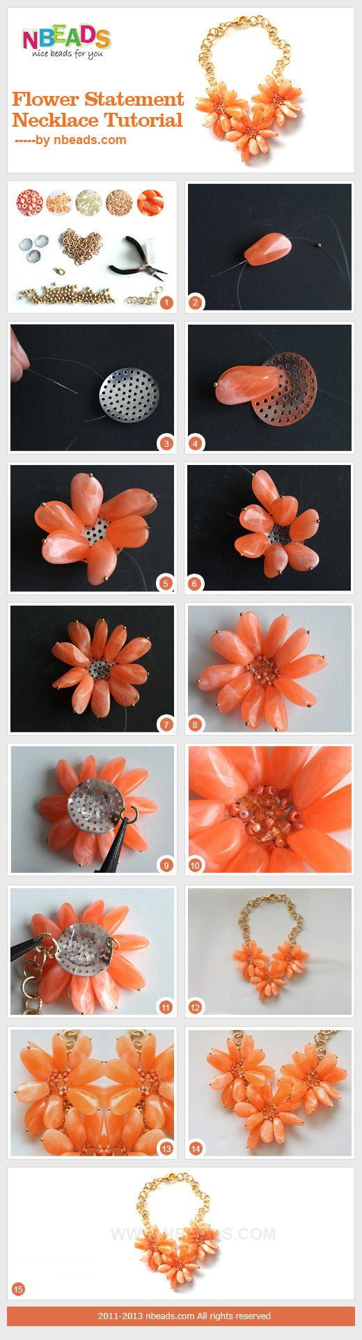 Flower statement necklace tutorial - I wonder where one can get some of those perforated discs? You could make more than flowers with those things!