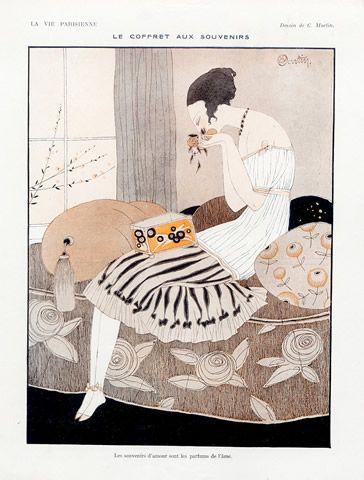 Charles Martin 1918 ''Le Coffret aux Souvenirs'' Elegant Parisienne
