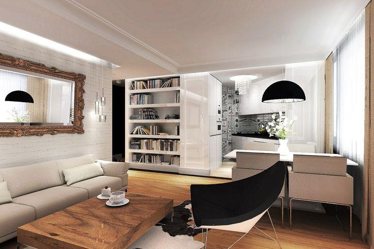 Projekt wn trz klasycznego salonu z otwarta kuchni for 24 hour salon nyc