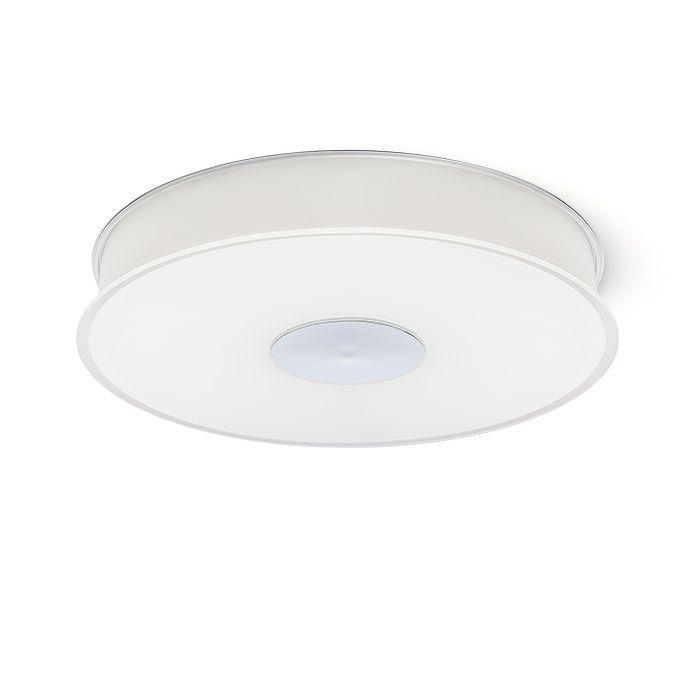 ASTERI STROPNÁ - Stropné svietidlo s tienidlom zo satinovaného skla. Spodné krycie sklo je zaistené chrómovou kruhovou doskou.